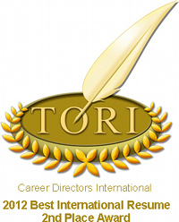 TORI Award - International Resume - 2nd Place