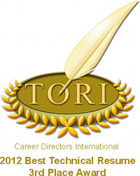 TORI Award - Best Technical Resume - 3rd Place